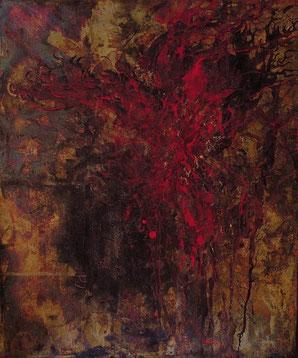 緋 / 暗 Crimson/Darkness (painting, Japanese paper, Silver leaf, Pigments, Glue)