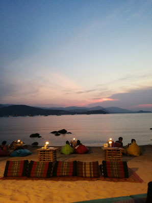 sunset image taken at koh samui solo bar in bangrak with a blue sky in the back.