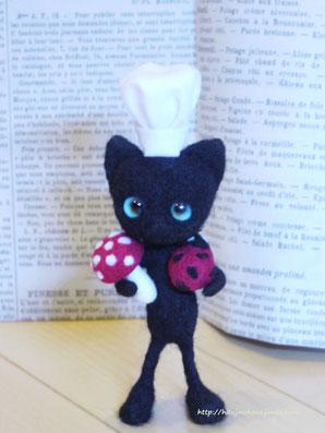 羊毛フェルト 黒猫コックさん