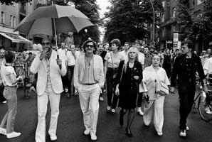 Günther Thews, Holger Klotzbach, Marianne Enzensberger, Lotti Huber und Rosa von Praunheim, Christopher Street Day, 1982