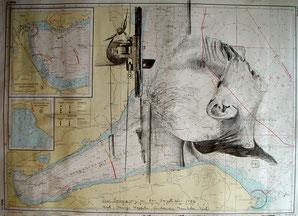 Bleistift auf Seekarte 50x70 cm