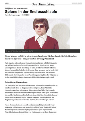 NZZ Review of Simon Menner Exhibition