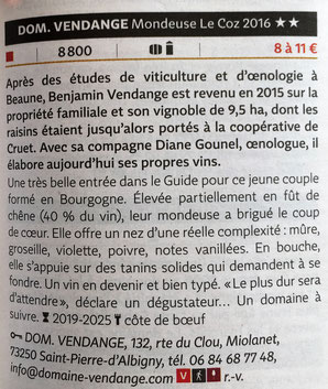 Guide Hachette des Vins 2018 Domaine Vendange Vins de Savoie