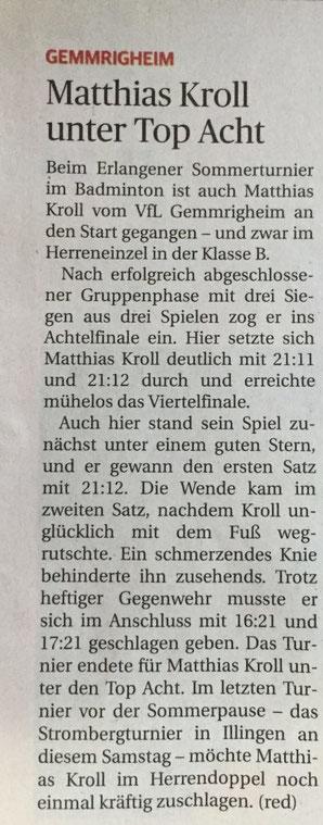 Zeitungsbericht Turnier Erlangen