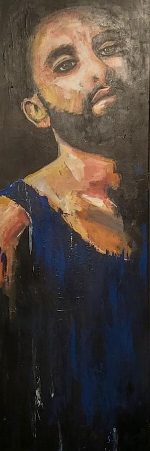 """Nr. 54 / CHRISTIANE GOLLATZ / """"Tom N."""", Acryl auf Leinwand, 40x120cm, 350,-€"""