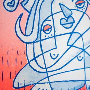 Comicartig gezeichnete Frau