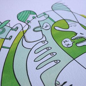 Gezeichnete Figuren vor grüner Aquarell Fläche