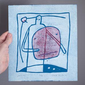 URBS 103 | Zweifarbiger Holzschnitt auf blauem Papier