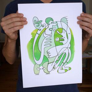 Gezeichnete Figuren als Fine Art Print