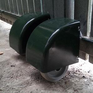 Motorización de rueda Akia verde, para portal abatible