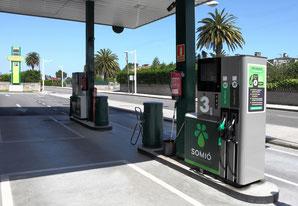 Gasolinera. Surtidores. Combustibles de alto rendimiento