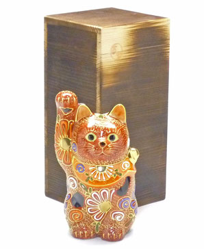 九谷焼 招き猫 4号 デコ盛 金運 焼き塗装木箱台