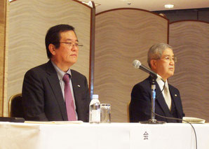 今年度方針を語る吉野会長(左)と上原副会長
