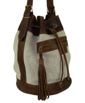 sac seau en cuir et lin naturel avec un lien et un pompon petite série
