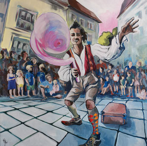 Galambos Rita: A mutatványos, festőművész, akrilfestmény, akrilművészet, kortárs képzőművészet, Malerin, Designerin, Illustratorin, Grafikdesignerin, hungarian Painter, contemporary artist, modern painting, Feldkirch, Vorarlberg , Austria