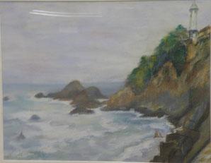海と燈台 パステル6号