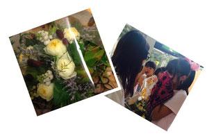 後輩への激励に黄色の花をプレゼントしました。