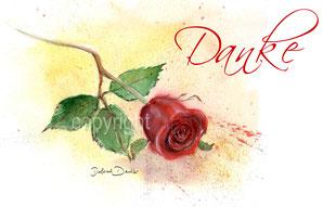 rote Rose und Danke