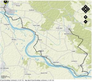 Übersichtskarte Wittenberge- Bad Wilsnack