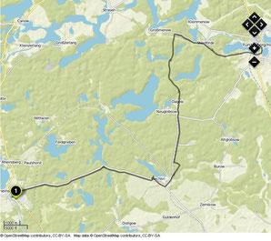 Übersichtskarte Rheinsberg- Fürstenberg/Havel