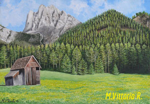 The valley Braies,oil painting on canvas, 35x50, year 2009