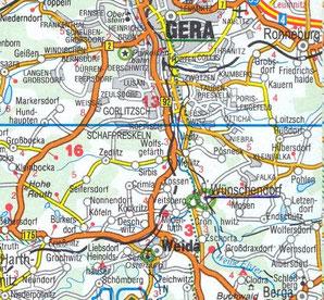 Bild: Karte Wünschendorf bei Gera