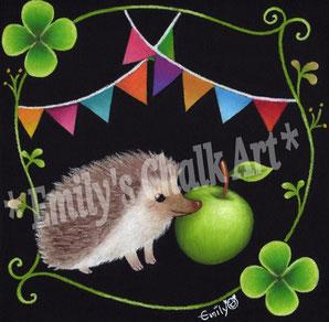 ハリネズミと青りんご