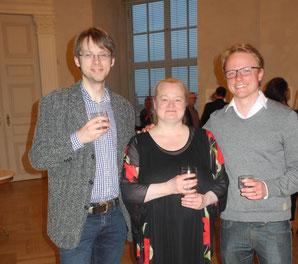 Sonja Korkeala nach dem Konzert mit den Komponisten Alexander Muno und Stefan Johannes Hanke. Foto: Ludwig Weigel