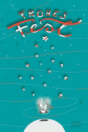 Taube, Weihnachten, Frohes Fest Weihnachtskarte Postkarte, Illustration Judith Ganter, Hamburg bei Redbubble