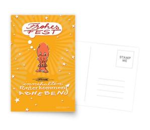 Schwebefuchs - Fuchs Weihnachten - gelb - Grußkarten bei Redbubble   - Illustration und Spruch Judith Ganter - Illustriertes Kopfkino für Alltagsoptimisten