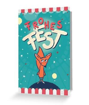 Fuchs im Weltall - Frohes Fest - Klappkarte bei Redbubble - Illustration Judith Ganter - Illustriertes Kopfkino für Alltagsoptimisten