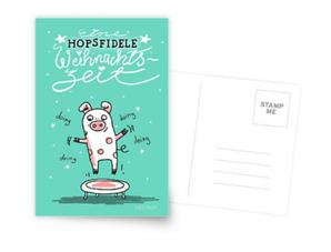 Trampolinschweinchen - Eine HOPSFIDELE Weihnachtszeit - Postkarte bei Redbubble – Text und Illustration Judith Ganter - Illustriertes Kopfkino für Alltagsoptimisten