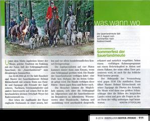 Rheinlands Reiter + Pferde, Ausgabe August 2014, Mit freundlicher Genehmigung: rheinland media & kommunikation gmbh
