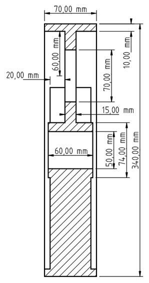 Zeichnung der Riemenscheibe mit den Maßen