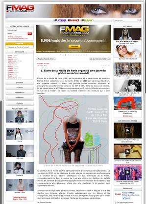 l'Ecole de la Maille de Paris dans Fashion mag 3/2012