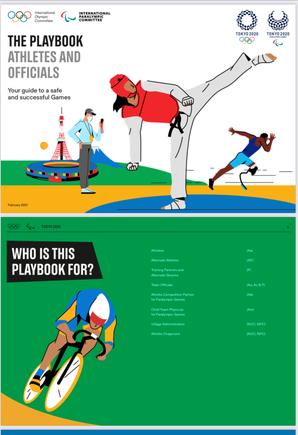 画像:公益財団法人東京オリンピック・パラリンピック競技大会組織委員会(東京2020組織委員会)のホームページからダウンロードできる「プレイブック(PDF)https://gtimg.tokyo2020.org/image/upload/production/tfuttfrrgnu8ozyydbg3.pdf」の表紙画面キャプチャ