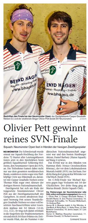 Neumünster Open 2013 am 23.02.2013, Holsteinischer Courier vom 27.02.2013
