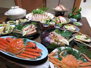 かに刺身、かに天ぷらが好評を頂いております。