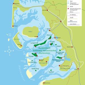 Pellworm ist umgeben vom Biosphärenreservat Schleswig-Holsteinisches Wattenmeer und Halligen. Karte: halligen.de