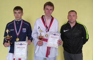 Иван Беляев, Андрей Петров и тренер Денис Топузиди