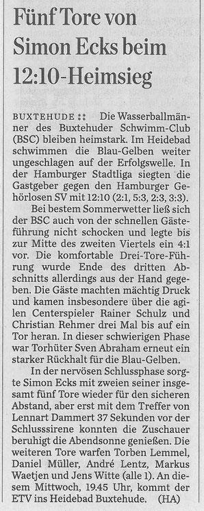 Hamburger Abendblatt vom 6. Juli 2015: Wasserball/ Fünf Tore von Simon Ecks beim 12:10-Heimsieg