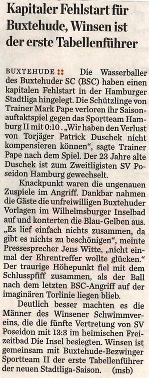 Wasserball: Kapitaler Fehlstart für Buxtehude, Winsen ist der erste Tabellenführer Die Wasserballer des Buxtehuder SC (BSC) haben einen kapitalen Fehlstart in der Hamburger Stadtliga hingelegt