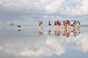 la traversee vers le Mont avec un guide nature Julien AVRIL à Gambettes en Baie