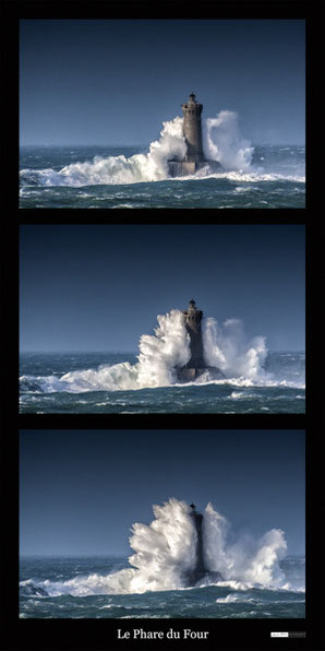 triptyque, Phare le four, bretagne, finistere, vague, tempete