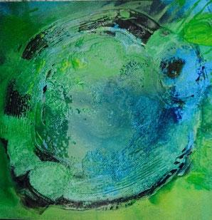 Bild: Blaue Sonne:  60 x 60 cm, auf Leinwand, Acryl-Mischtechnik