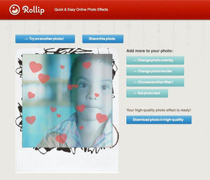 simple user interface of Rollip free internet photo filters