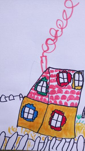 """Eine Zeichnung unserer """"Großen"""" an der Ostsee von unserem Haus. Wir finden: gar nicht schlecht getroffen."""