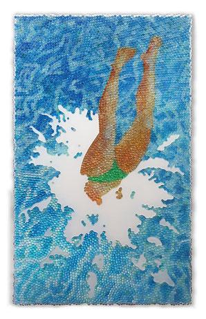 JOHANNES KRIESCHE,   Alle Lust will Ewigkeit 1,  Glaskugeln und Plexiglas auf Öl, Leinwand und Holz, 2018, 100 x 60 cm