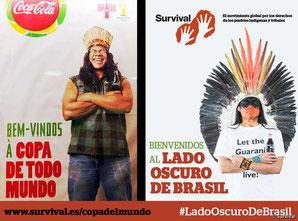 """La imagen de Coca-Cola y la FIFA ha sido contrastada con la de un hombre indígena indignado que demanda """"¡Dejen vivir a los guaraníes!"""". © Survival"""