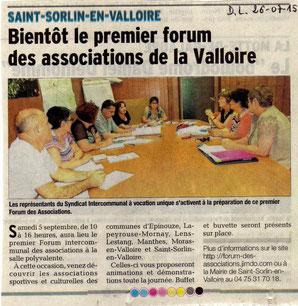 Article du Dauphiné Libéré du 26/07/2015